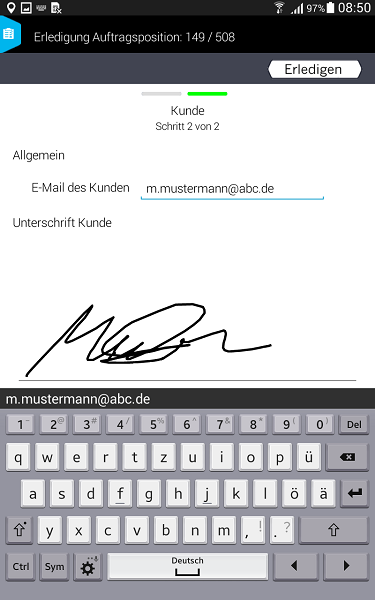 Smart Work Mobile_Rückmeldung Kundenunterschrift und Mailversand